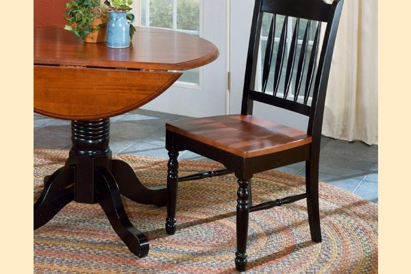 A-America British Isles Antique Black & Oak Slat Back Side Chair
