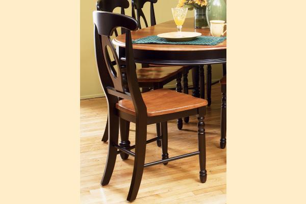 A-America British Isles Antique Black & Oak Napoleon Side Chair