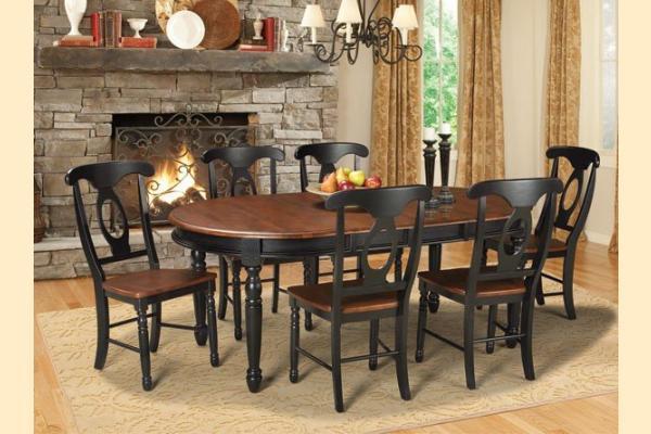 A-America British Isles Antique Black & Oak Oval Leg Table w/ Two 12