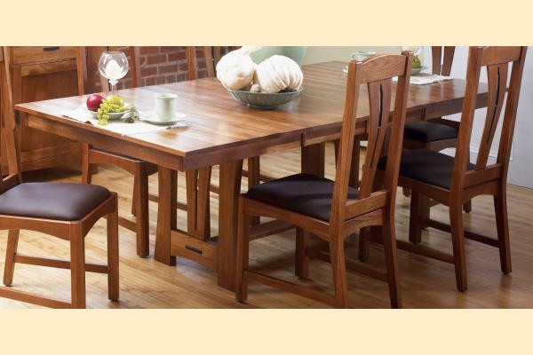 A-America Cattail Bungalow Trestle Table w/Two 18