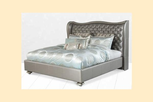 Aico Hollywood Swank Queen Upholstered Platform Bed-Metallic Graphite