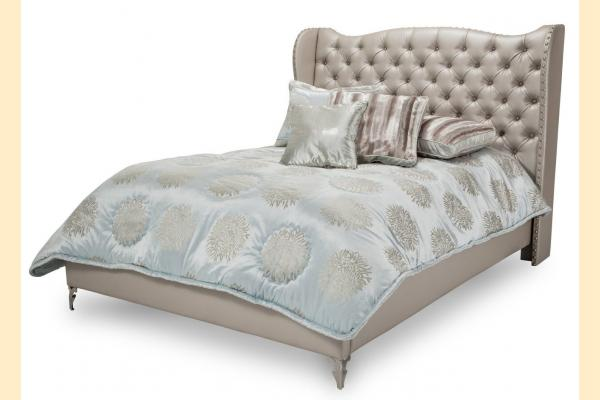 Aico Hollywood Loft Queen Upholstered Platform Bed-Frost