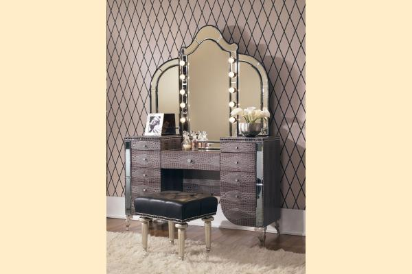 Aico Hollywood Swank Upholstered Vanity With Mirror-Amazing Gator