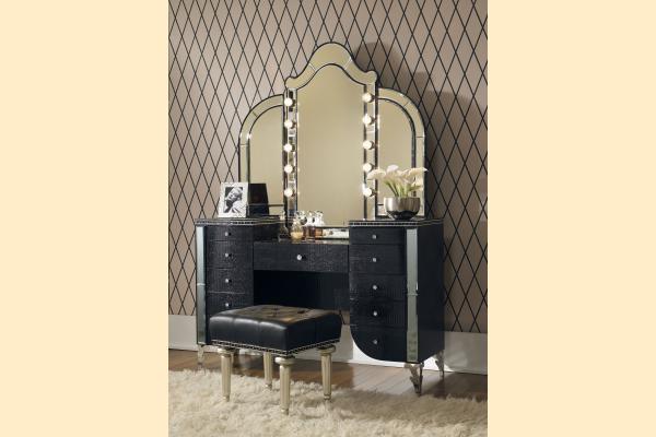 Aico Hollywood Swank Upholstered Vanity & Mirror-Black Iguana