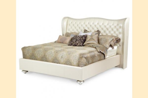 Aico Hollywood Swank Cal-King Upholstered Platform Bed-Creamy Pearl