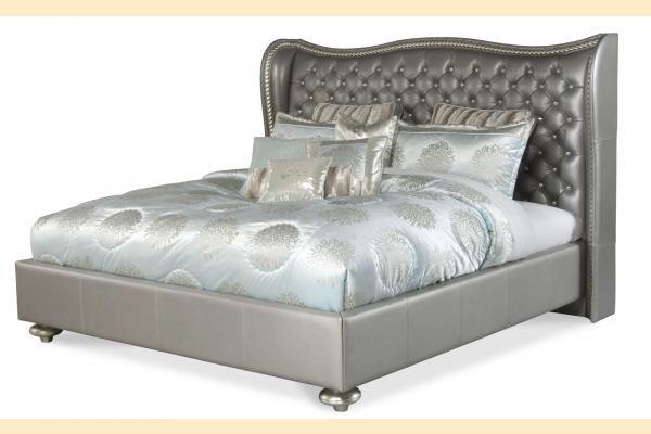 Aico Hollywood Swank Cal-King Upholstered Bed-Metallic Graphite