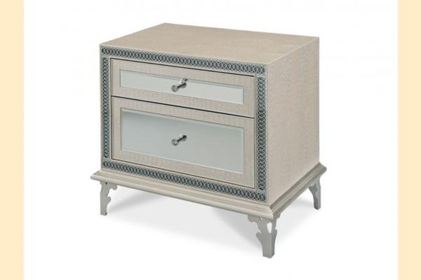 Aico Hollywood Swank Upholstered Nightstand-Crystal Croc