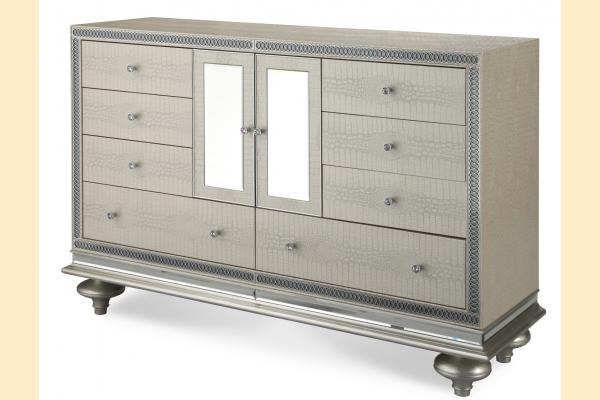 Aico Hollywood Swank Upholstered Dresser Only-Crystal Croc