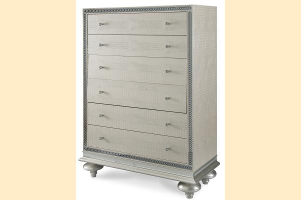 Aico Hollywood Swank Upholstered Chest-Crystal Croc