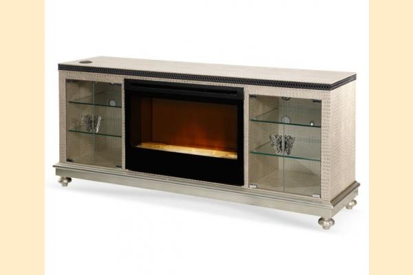 Aico Hollywood Swank Media Console-Crystal Croc w/ Fireplace Insert