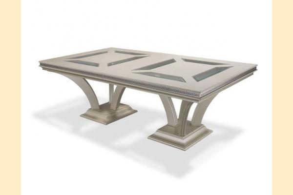Aico Hollywood Swank Double Pedestal Dining Table-Pearl Caviar Includes Two 24