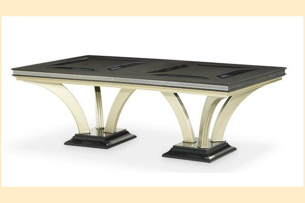 Aico Hollywood Swank Double Pedestal Dining Table-Caviar Includes Two 24