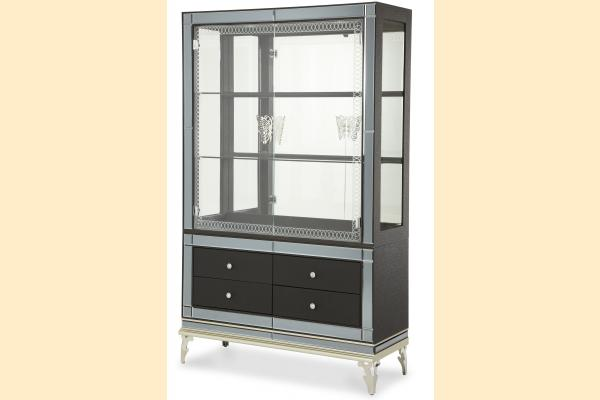 Aico Hollywood Swank Curio w/ Drawers-Caviar