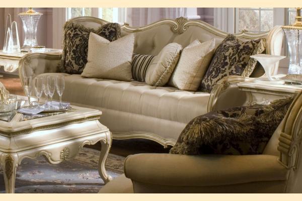 Aico Lavelle White Wood Trim Tufted Sofa