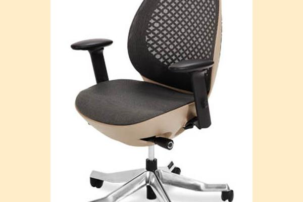 Aico Linq Office Chairs Charcoal Mesh Office Chair w/ Taupe Frame