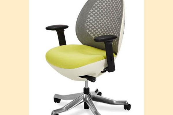 Aico Linq Office Chairs Snowy Mesh Office Chair w/ Mustard Seat