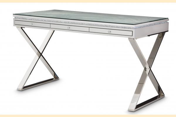 Aico Melrose Plaza Writing Desk w/Glass Top