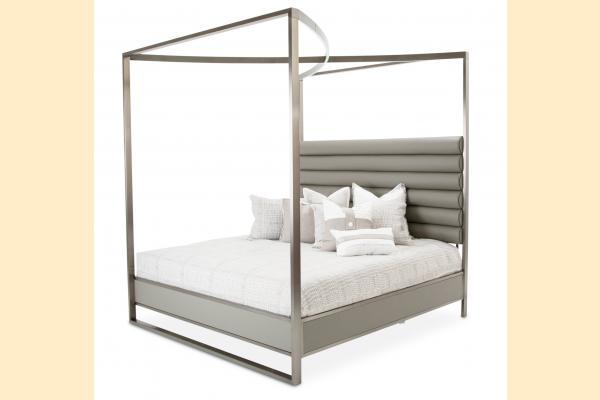 Aico Metro Lights Queen Metal Bed w/Canopy