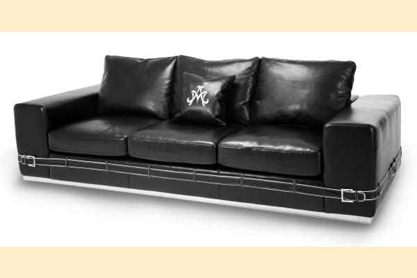 Aico Mia Bella Ciras Leather Mansion Sofa Opt 1 St. Steel