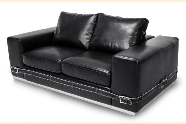 Aico Mia Bella Ciras Leather Loveseat Opt 1 St. Steel