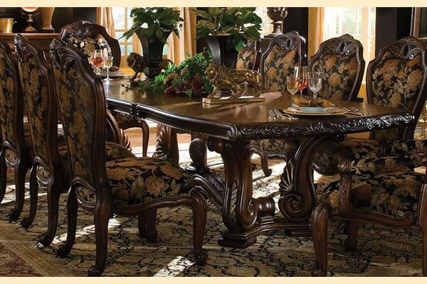 Merveilleux Aico Oppulente Sienna Spice Rectangular Dining Table W/ Three 18
