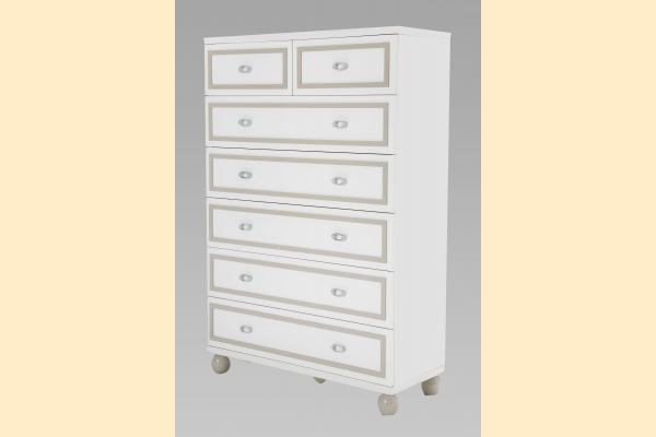 Aico Sky Tower 7 Drawer Chest-White Cloud