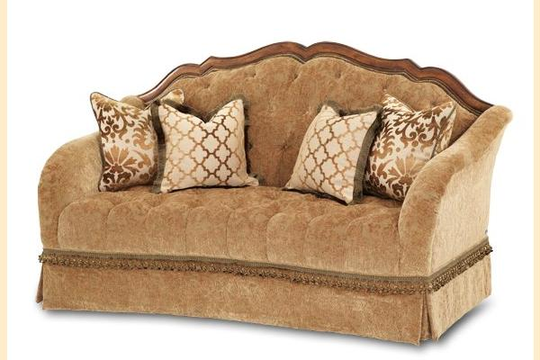 Aico Villa Valencia Wood Trim Tufted Loveseat Opt 1