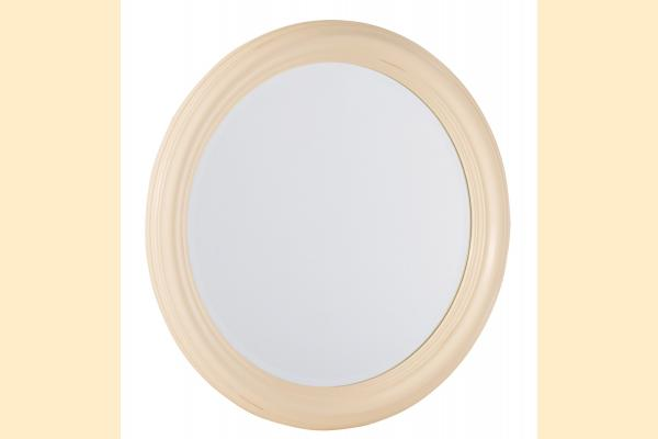 American Drew Camden-Antique White Round Mirror