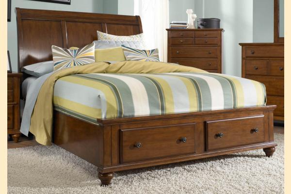 Broyhill Hayden Place-Brown Cherry Queen Sleigh Storage Bed