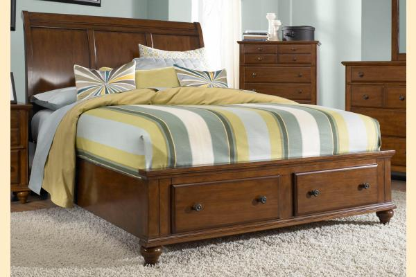 Broyhill Hayden Place-Brown Cherry Cal-King Sleigh Storage Bed