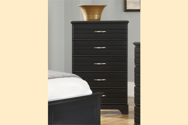 Carolina Furniture Platinum Series-Black 5 Drawer Chest