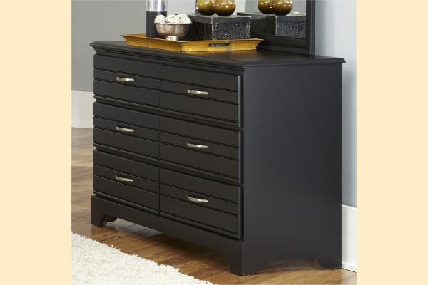 Carolina Furniture Platinum Series-Black 6 Drawer Double Dresser