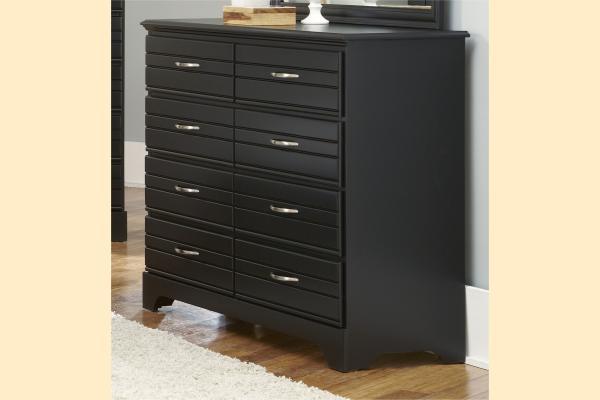 Carolina Furniture Platinum Series-Black 8 Drawer Tall Dresser