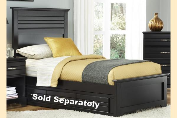 Carolina Furniture Platinum Series-Black Twin Panel Waterfall Bed