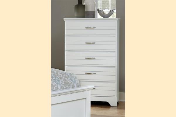Carolina Furniture Platinum Series-White 5 Drawer Chest