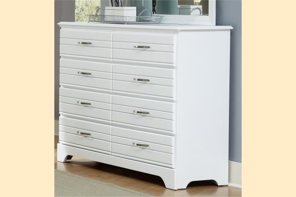 Carolina Furniture Platinum Series-White 8 Drawer Tall Dresser