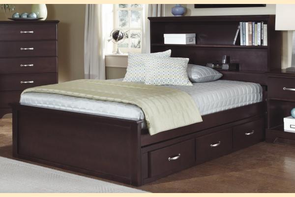 Carolina Furniture Signature Series Full Bookcase Bed w/ One Sided Storage