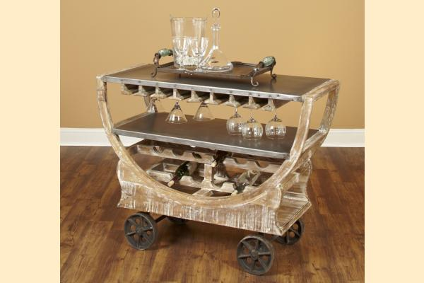 Largo Rustic Collectibles Bar Trolley-Weathered Beach/Natural Metal