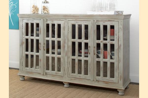 Largo Rustic Collectibles 4 Door Sideboard-Distressed Grey/Seafoam