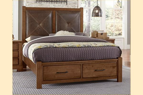 VB Artisan & Post  Cool Rustic-Amber Queen Leather Bed W/ Storage Footboard