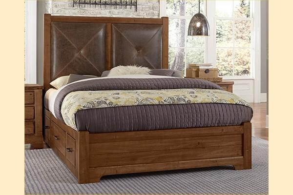 VB Artisan & Post  Cool Rustic-Amber Queen Leather Bed W/ One Side Storage