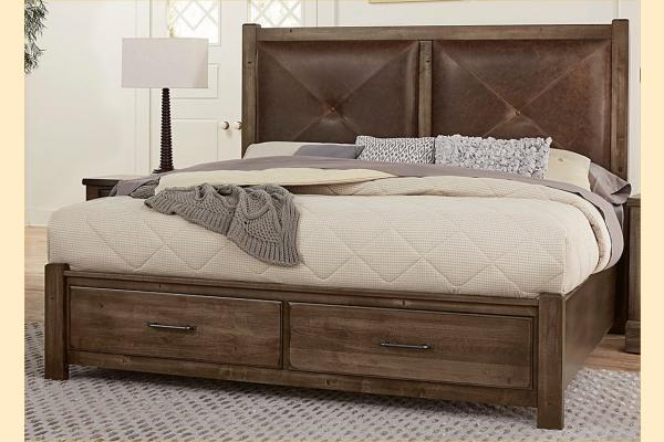 VB Artisan & Post  Cool Rustic-Mink Queen Leather Bed W/ Storage Footboard