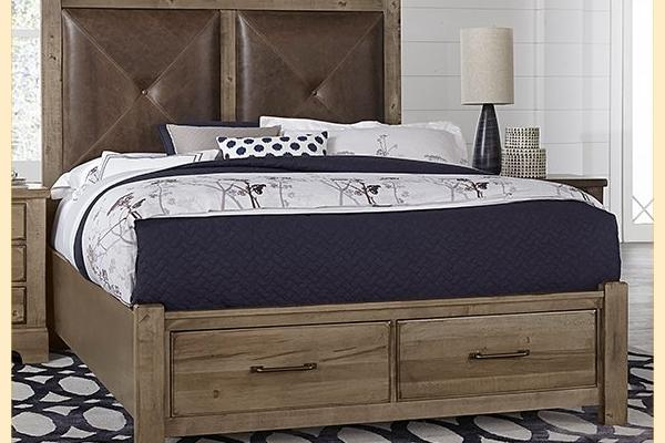 VB Artisan & Post  Cool Rustic-Stone Grey Queen Leather Bed W/ Storage Footboard
