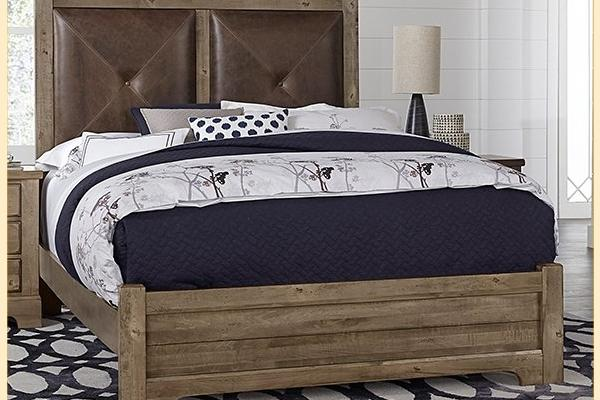 VB Artisan & Post  Cool Rustic-Stone Grey Queen Leather Bed W/ Matching Footboard
