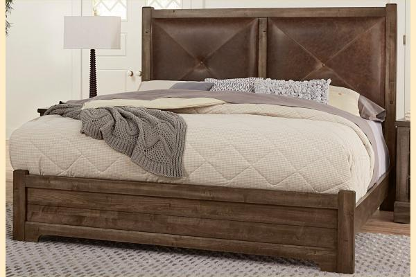 VB Artisan & Post  Cool Rustic-Mink Queen Leather Bed W/ Matching Footboard