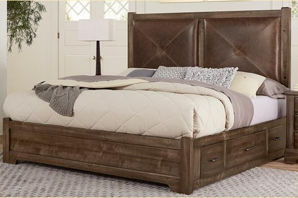 VB Artisan & Post  Cool Rustic-Mink Queen Leather Bed W/ One Side Storage