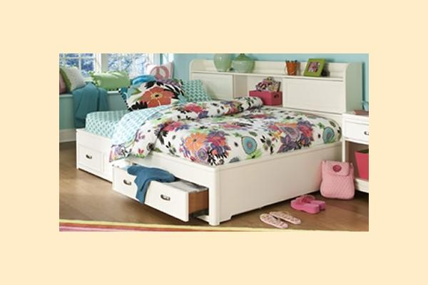 Legacy Kids Park City White Twin Bookcase Storage Lounge Bed