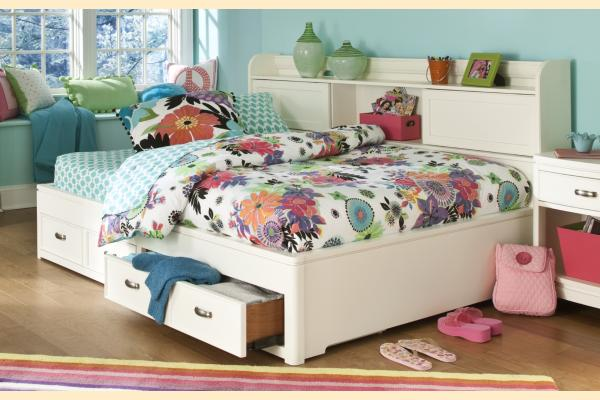 Legacy Kids Park City White Full Bookcase Storage Lounge Bed