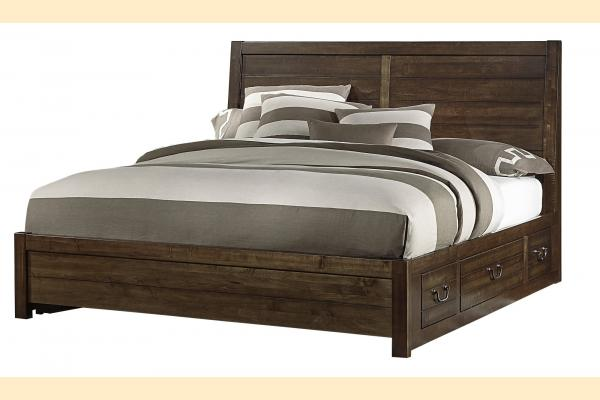 VB Artisan & Post  Sedgwick-Classic Dark Maple King Plank Bed w/ Two Side Storage