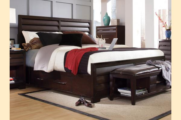 Pulaski Tangerine-Sable Queen Panel Bed with Dual Storage Rails